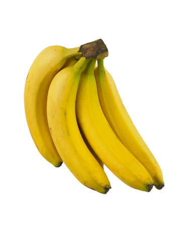 Bunch of ripe yellow bananas isolated on white background