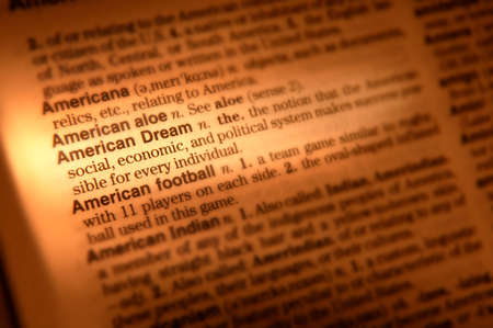Close up of dictionary page showing definition of American dream