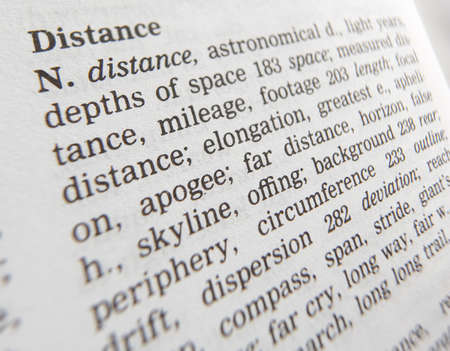 Close up of thesaurus page showing definition of the word distance