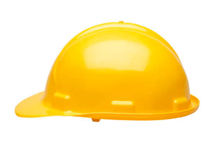Yellow hard hat safety helmet isolated on white background