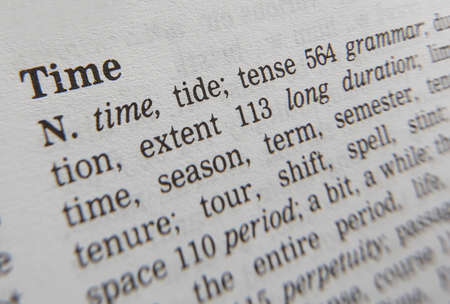 Close up of thesaurus page showing definition of the word time 写真素材
