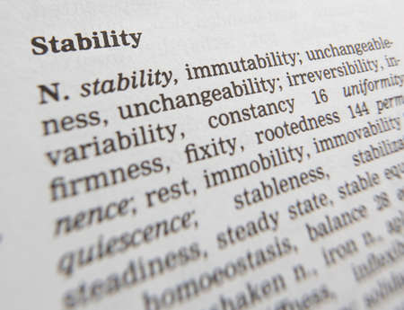 Close up of thesaurus page showing definition of the word stability