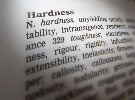 Close up of thesaurus page showing definition of the word hardness