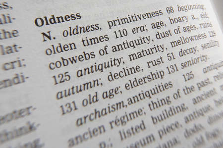 Close up of thesaurus page showing definition of the word oldness 写真素材