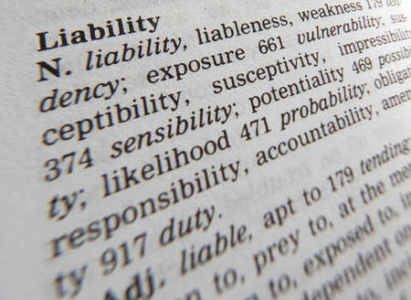 Cloe up of thesaurus page showing definition of the word liability