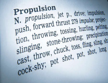 Close up of thesaurus page showing definition of the word propulsion 写真素材