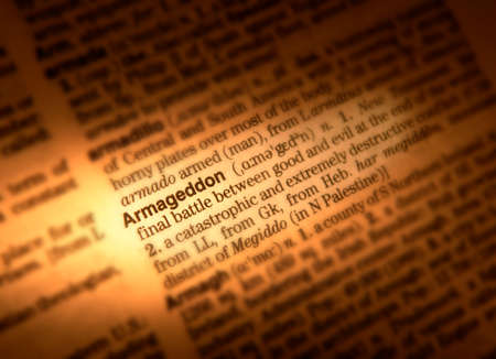 Close up of dictionary page showing definition of the word Armageddon Stock Photo