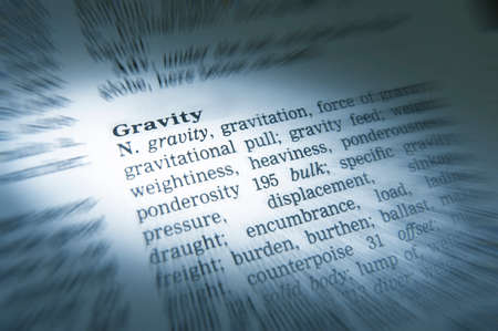 Close up of thesaurus page showing definition of the word gravity