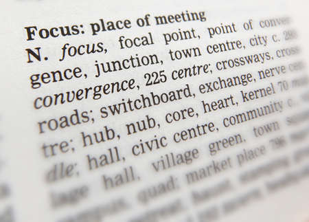 Close up of thesaurus page showing definition of the word focus 写真素材