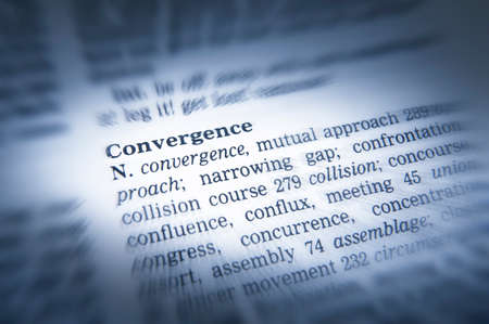 Close up thesaurus page showing definition of the word convergence 写真素材