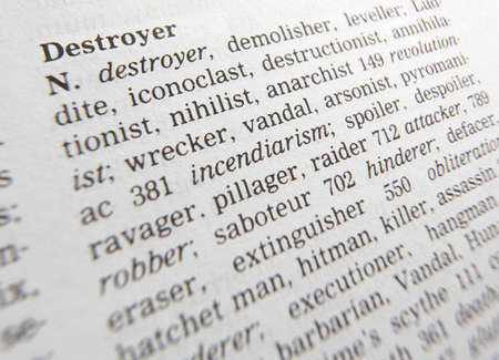 Close up of thesaurus page showing definition of the word destroyer 写真素材