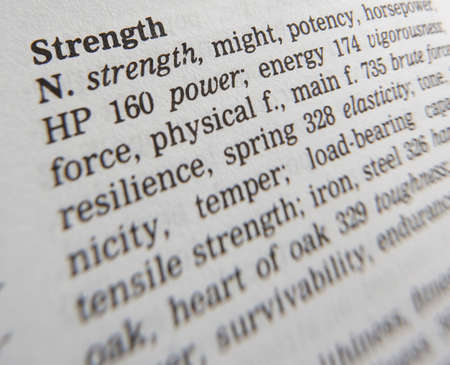 Close up of thesaurus page showing definition of the word strength