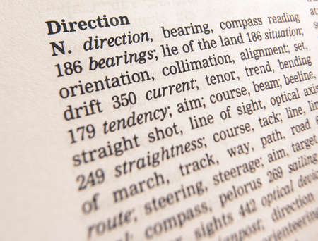 Close up of thesaurus page showing definition of the word direction