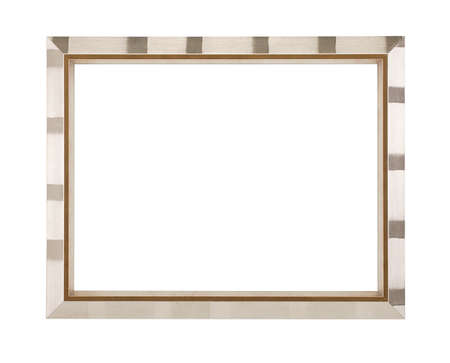 Silver aluminium picture frame isolated on white background