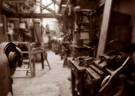 Old machinery in derelict textile Mill in Yorkshire, England