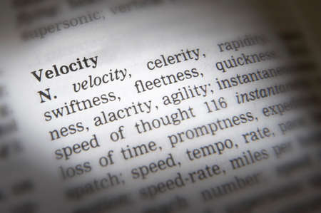 Close up of thesaurus page showing description of the word velocity