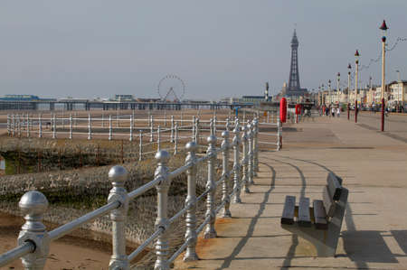 Golden mile with Blackpool Tower in background, England