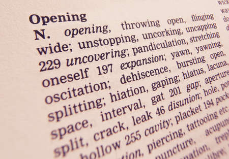 Close up of thesaurus page showing description of the word opening 写真素材
