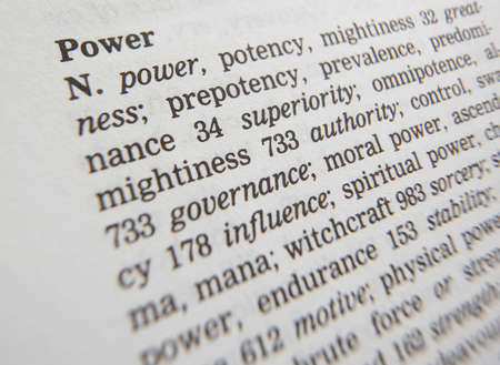 Close up of thesaurus page showing description of the word power