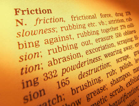 Close up of thesaurus page showing description of the word friction