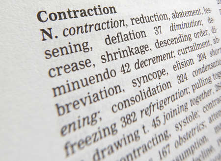 Close up of thesaurus page showing description of the word contraction 写真素材