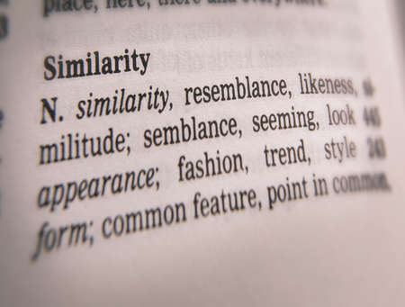 Close up of thesaurus page showing description of the word similarity