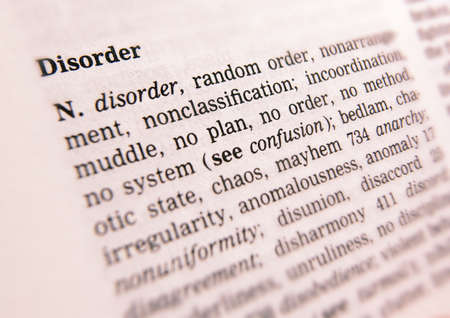 Close up of thesaurus page showing description of the word Disorder 写真素材