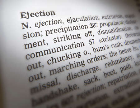 Close up of thesaurus page showing description of the word Ejection 写真素材