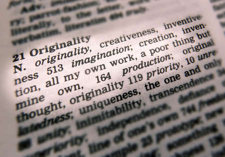 Close up of thesaurus page showing description of the word Originality 写真素材