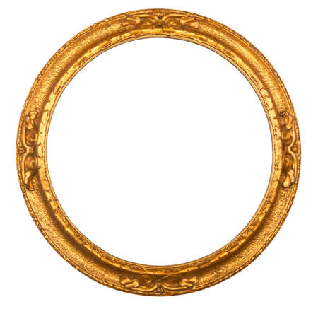 Circular gilt antique picture frame isolated on white background Imagens