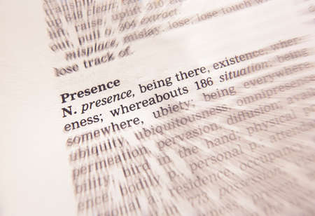 Close up of thesaurus page showing description of the word Presence