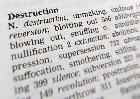 Close up of thesaurus page showing description of the word Destruction