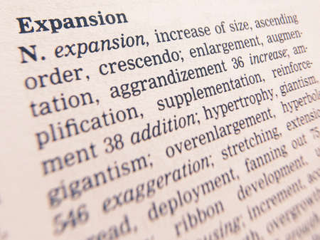 Close up of thesaurus page showing description of the word Expansion 写真素材