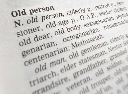 Close up of thesaurus page showing description of the term Old person