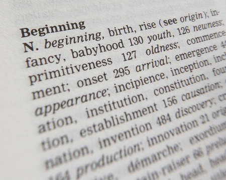 Close up of thesaurus page showing description of the word Beginning