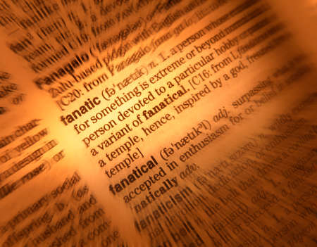 Close up of dictionary page showing definition of the word fanatic Stock Photo
