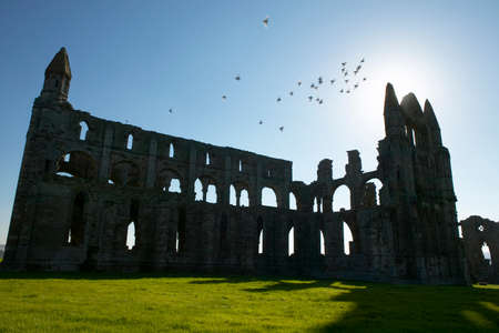 Whitby Abbey ruins in silhouette, Yorkshire, England Banque d'images - 122799058
