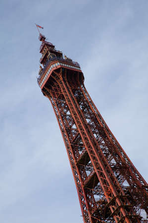 Blackpool Tower against blue sky and clouds