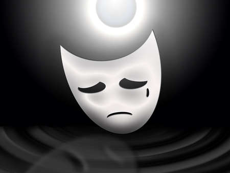 sadness: stylized in black and white image: a white theatrical mask of sadness looking at his reflection in the ripples