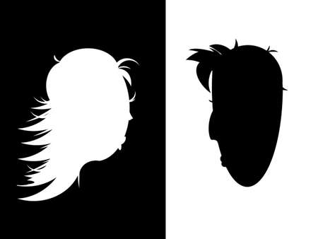 black and white stylized figure: male profile on a white background and a womans profile in the black, facing each other photo