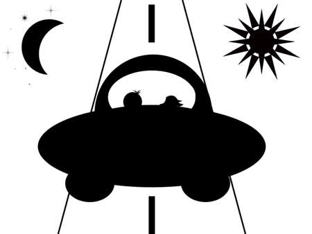 black and white stylized illustration: in the car on the road traveling man and woman on the left half-moon and the stars, sun right Stock Illustration - 7965993