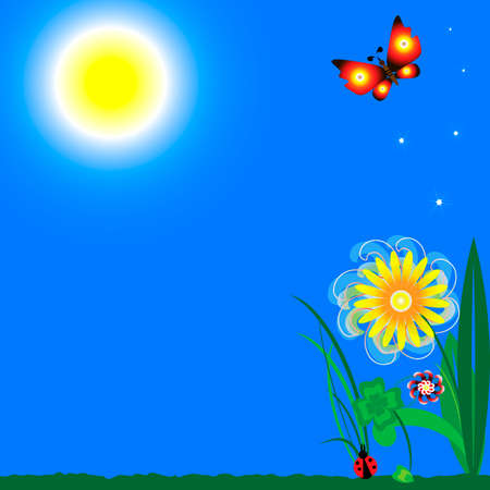joyfully: blue sky with bright sunshine, green grass, flower, clover, ladybug and two butterflies, feathers, positively and joyfully