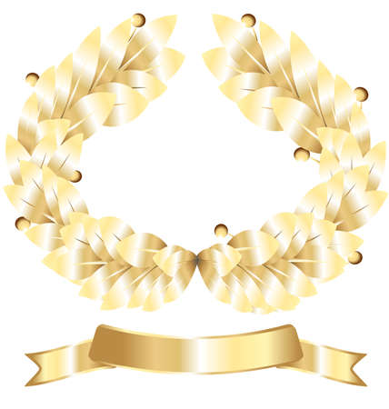 on white gold laurel wreath and a gold ribbon winner Vector