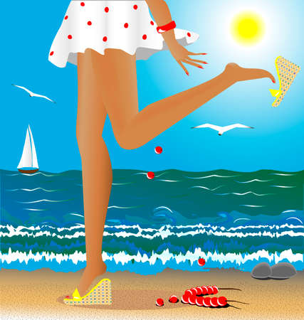 to stumble: sea, summer, beach, beautiful female legs - a lady stumbled and upset beads