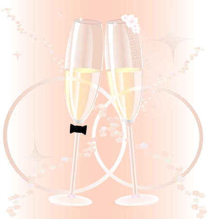 on a pink background wedding champagne glasses, dressed as a bride and groom