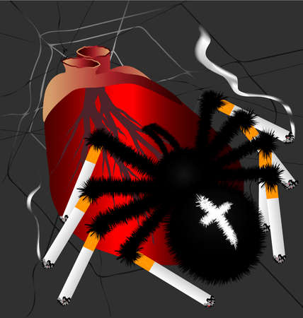 in the web of human heart on it with the spider legs in the form of cigarettes
