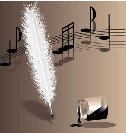 old writing: on a beige background music writing white feather pen and the inverted bottle with ink