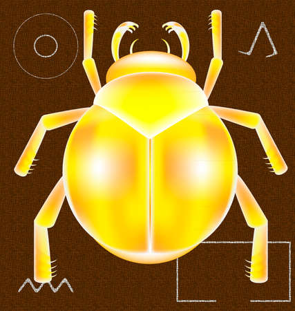 scarabeo: on a brown background with Egyptian symbols of a golden scarab beetle