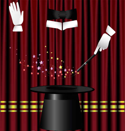 against the background of red theater curtain big hat magician, two hands in white gloves and a magic wand which creates a spell Ilustração