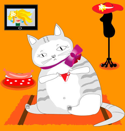 thinness: in the orange room sits a sad fat cat, and with tears looking at the small red panties next bowl with sausage, slender mannequin in a red hat and a glamorous TV skinny beauty